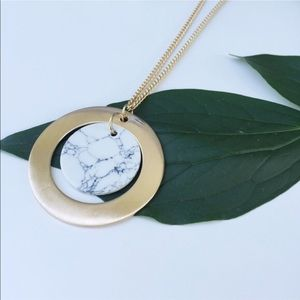 Extra Long White Marbled Circle Pendant Necklace
